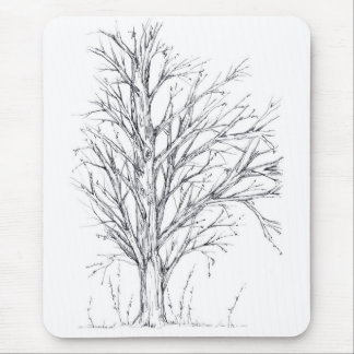 Winter Tree Black Ink Drawing Art Sketch Mouse Pad