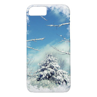 Winter Tree Blue and White iPhone 7 Case