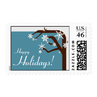 Winter Tree Blue Snowflake Holiday Postage