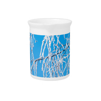 Winter tree branches covered with frost snow drink pitchers