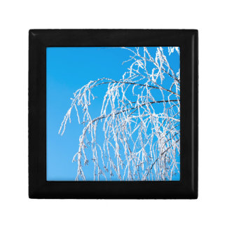 Winter tree branches covered with frost snow keepsake box