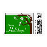Winter Tree Green Snowflake Holiday Postage