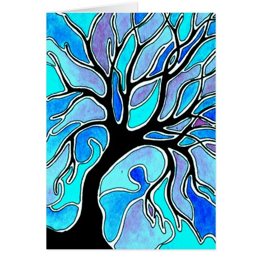 Winter Tree in Blue Greeting Cards