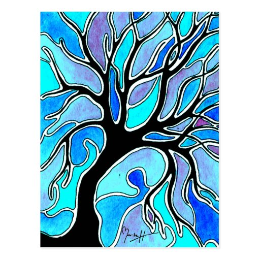 Winter Tree in Blue Post Cards