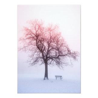 Winter tree in fog at sunrise card