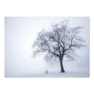 Winter tree in fog card