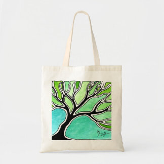 Winter Tree in Green Tones Budget Tote Bag