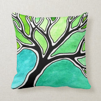 Winter Tree in Green Tones Pillow