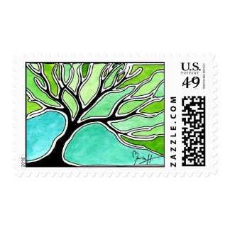 Winter Tree in Green Tones Postage