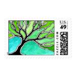 Winter Tree in Green Tones Stamps