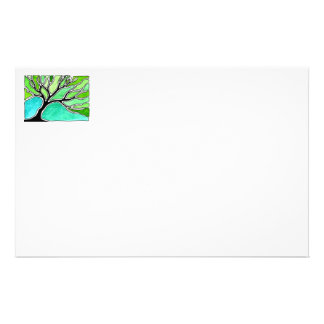 Winter Tree in Green Tones Stationery