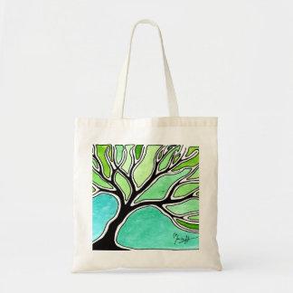 Winter Tree in Green Tones Tote Bag