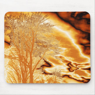 Winter Tree in Molten Gold Mouse Pad