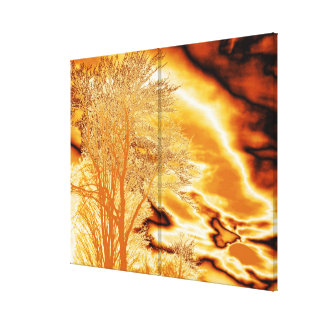 Winter Tree in Molten Gold on Wrapped Canvas Print