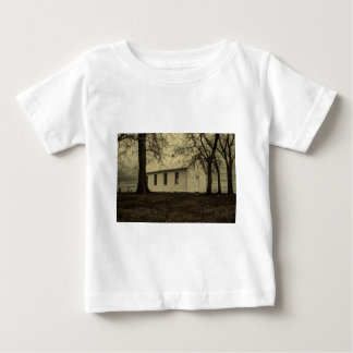 Winter tree landscape Old country church Baby T-Shirt
