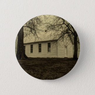 Winter tree landscape Old country church Pinback Button