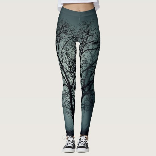Winter Tree Leggings Dark Teal with Black Tree