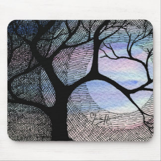 Winter Tree on Blue Blackground Cross Hatched Mouse Pad