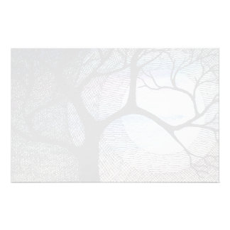 Winter Tree on Blue Blackground Cross Hatched Stationery