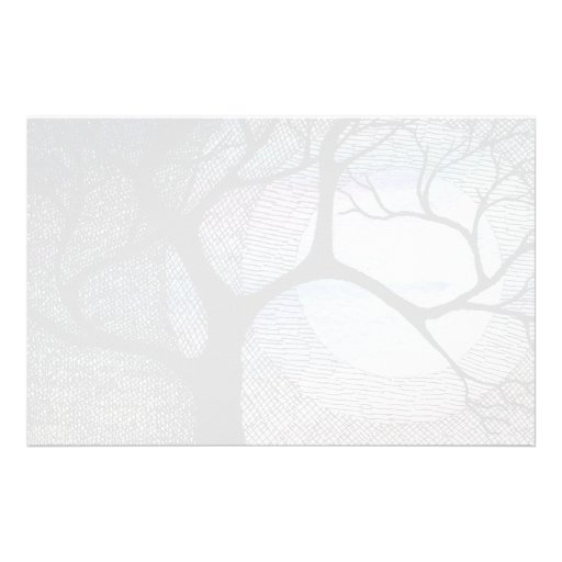 Winter Tree on Blue Blackground Cross Hatched Stationery Design