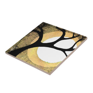 Winter Tree on Gold Background Cross Hatched Ceramic Tile