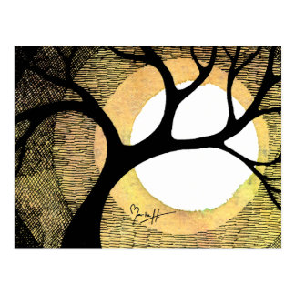 Winter Tree on Gold Background Cross Hatched Postcard