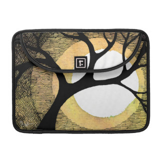 Winter Tree on Gold Background Cross Hatched Sleeves For MacBooks