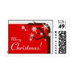 Winter Tree Red Snowflake Christmas Postage