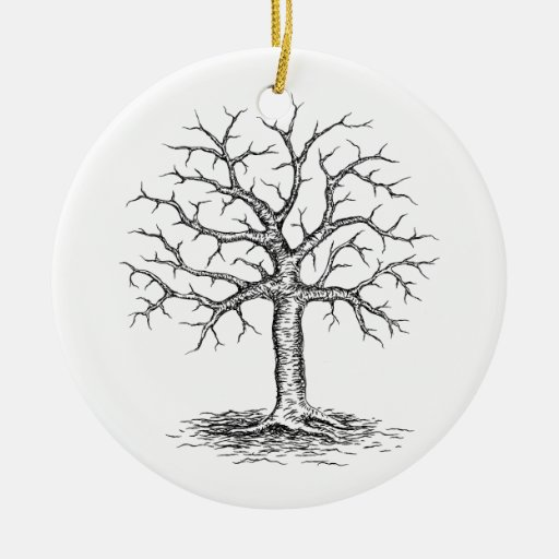 Winter Tree Sketch Double-Sided Ceramic Round Christmas Ornament | Zazzle