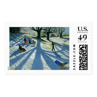Winter Tree Snow Sledgers Calke Abbey Derby Postage