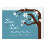 Winter Tree Snowflake Save the Date Announcement