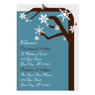 Winter Tree Snowflake Wedding Guest Reference Card
