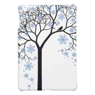Winter tree with snowflakes and birds iPad mini cases