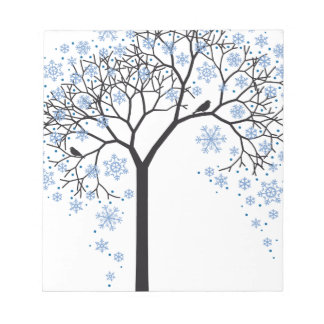 Winter tree with snowflakes and birds memo pad