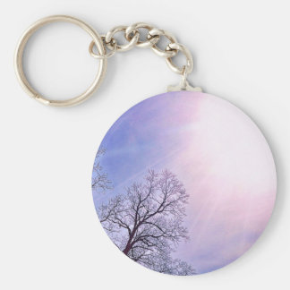 Winter Trees & A Cold Sun Seasonal Nature Art Basic Round Button Keychain