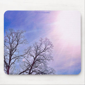 Winter Trees & A Cold Sun Seasonal Nature Art Mouse Pad