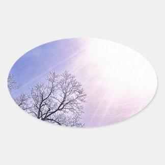 Winter Trees & A Cold Sun Seasonal Nature Art Oval Sticker
