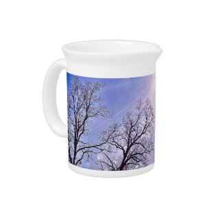 Winter Trees & A Cold Sun Seasonal Nature Art Pitcher