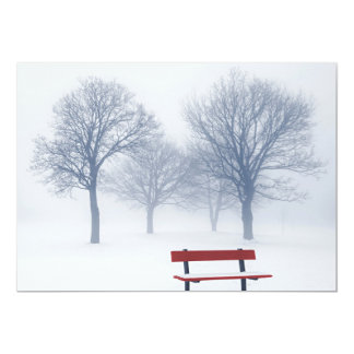 Winter trees and bench in fog card
