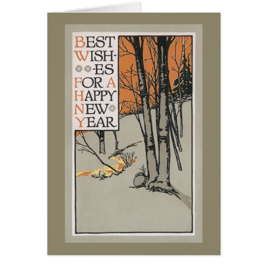 Winter Trees and Orange Sky Vintage New Year Card