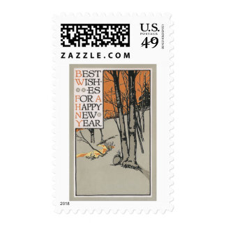 Winter Trees and Orange Sky Vintage New Year Postage Stamp