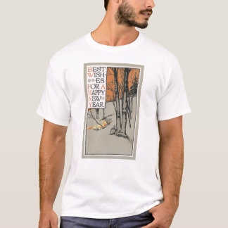 Winter Trees and Orange Sky Vintage New Year T-Shirt