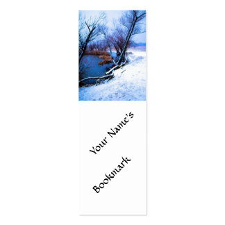 Winter Trees and Pond Double-Sided Mini Business Cards (Pack Of 20)