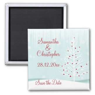 Winter Trees and Snowflakes Save the Date Magnets