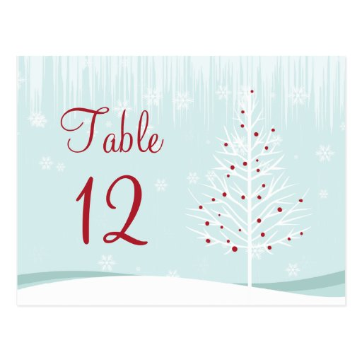 Winter Trees and Snowflakes Table Number Postcard