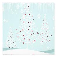 Winter Trees and Snowflakes Wedding Custom Invitation