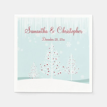 Winter Trees and Snowflakes Wedding Standard Cocktail Napkin