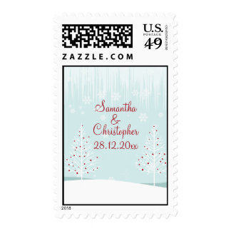 Winter Trees and Snowflakes Wedding Stamp