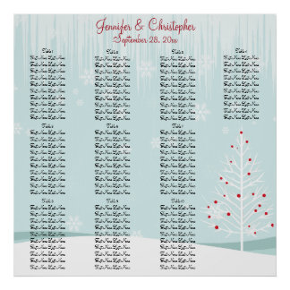 Winter Trees and Snowflakes Wedding Seating Chart Poster
