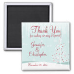 Winter Trees and Snowflakes Wedding Thank You 2 Inch Square Magnet